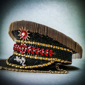 Black Military Captain Hat For Burning Man Party